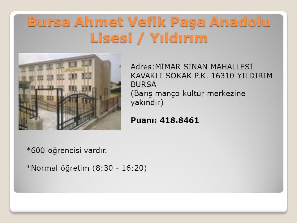 Bursa Ahmet Vefik Paşa Anadolu Lisesi / Yıldırım Adres:MİMAR SİNAN MAHALLESİ KAVAKLI SOKAK P.K. 16310 YILDIRIM BURSA (Barış manço kültür merkezine yak