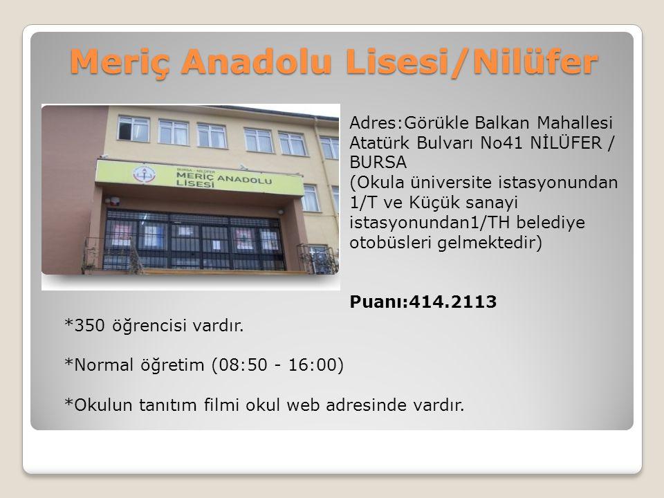 Meriç Anadolu Lisesi/Nilüfer Adres:Görükle Balkan Mahallesi Atatürk Bulvarı No41 NİLÜFER / BURSA (Okula üniversite istasyonundan 1/T ve Küçük sanayi i