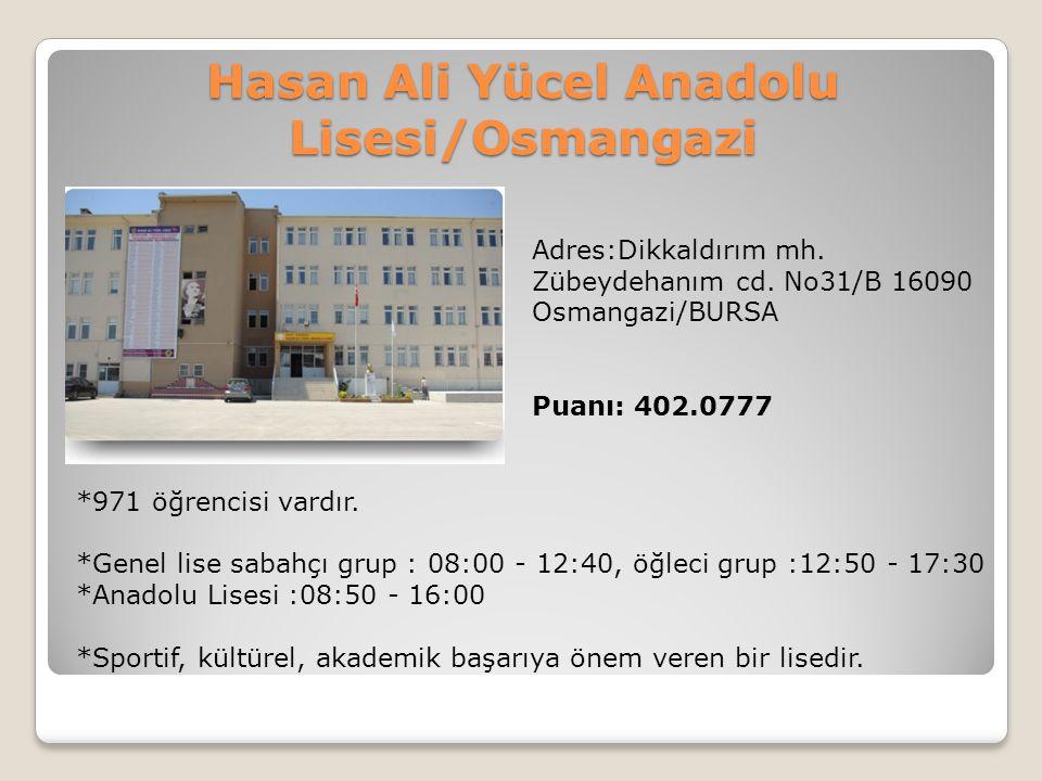 Hasan Ali Yücel Anadolu Lisesi/Osmangazi Adres:Dikkaldırım mh. Zübeydehanım cd. No31/B 16090 Osmangazi/BURSA Puanı: 402.0777 *971 öğrencisi vardır. *G