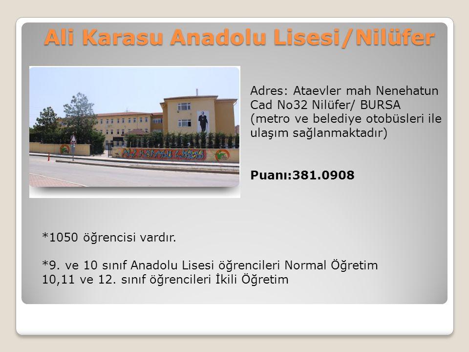 Ali Karasu Anadolu Lisesi/Nilüfer Adres: Ataevler mah Nenehatun Cad No32 Nilüfer/ BURSA (metro ve belediye otobüsleri ile ulaşım sağlanmaktadır) Puanı