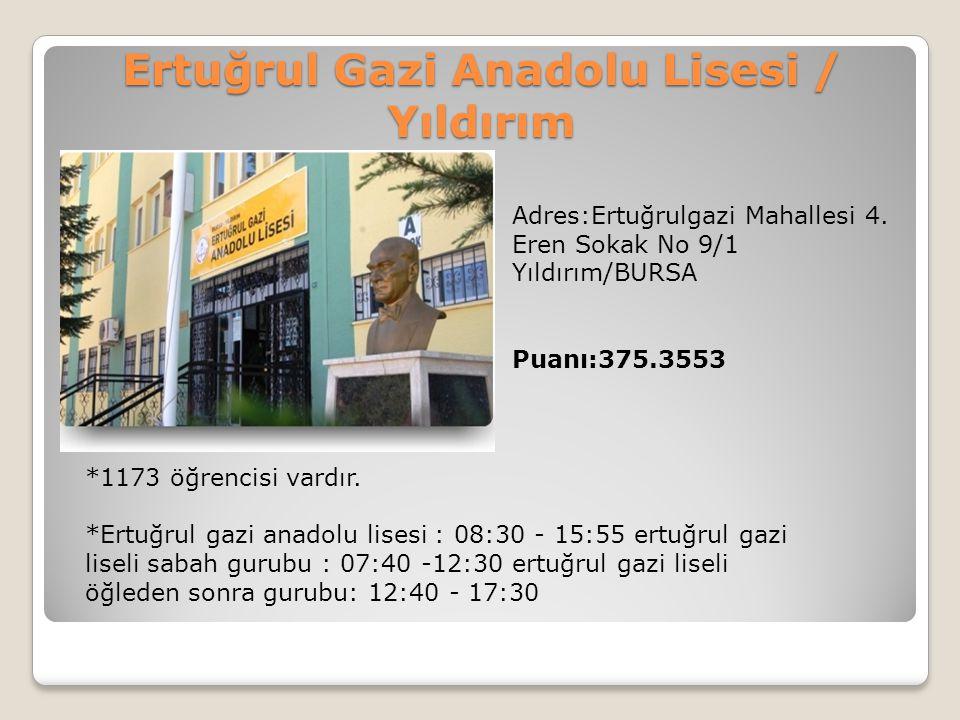 Ertuğrul Gazi Anadolu Lisesi / Yıldırım Adres:Ertuğrulgazi Mahallesi 4. Eren Sokak No 9/1 Yıldırım/BURSA Puanı:375.3553 *1173 öğrencisi vardır. *Ertuğ