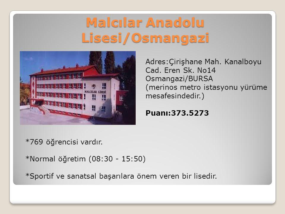 Malcılar Anadolu Lisesi/Osmangazi Adres:Çirişhane Mah. Kanalboyu Cad. Eren Sk. No14 Osmangazi/BURSA (merinos metro istasyonu yürüme mesafesindedir.) P