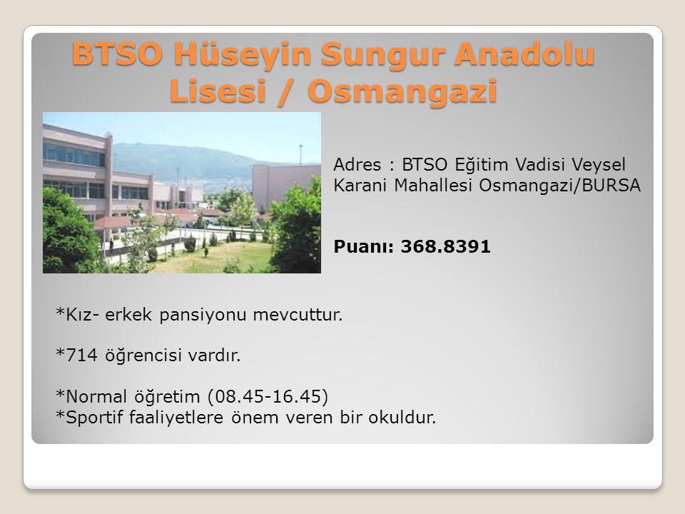 BTSO Hüseyin Sungur Anadolu Lisesi / Osmangazi Adres : BTSO Eğitim Vadisi Veysel Karani Mahallesi Osmangazi/BURSA Puanı: 368.8391 *Kız- erkek pansiyon