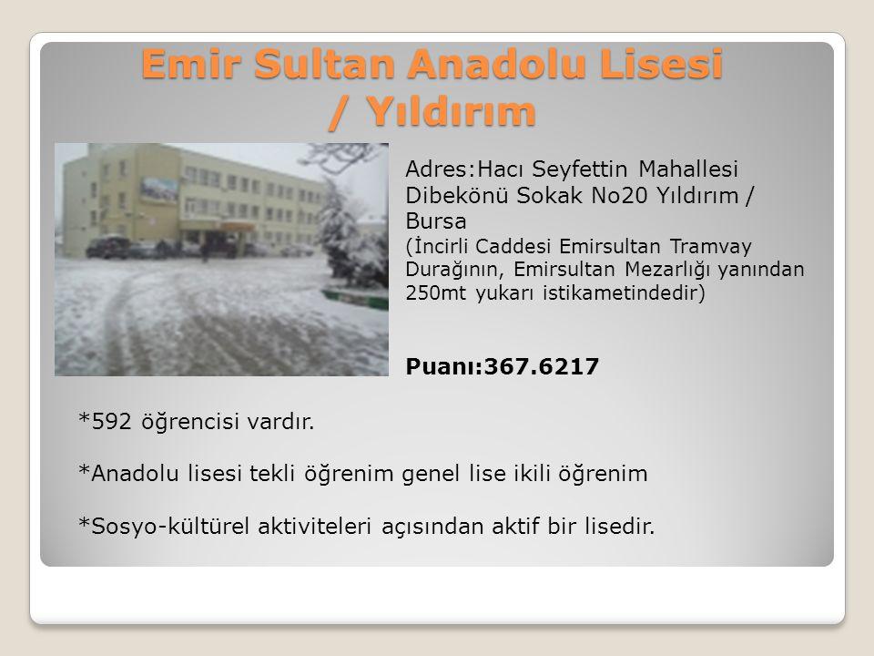 Emir Sultan Anadolu Lisesi / Yıldırım Adres:Hacı Seyfettin Mahallesi Dibekönü Sokak No20 Yıldırım / Bursa (İncirli Caddesi Emirsultan Tramvay Durağını