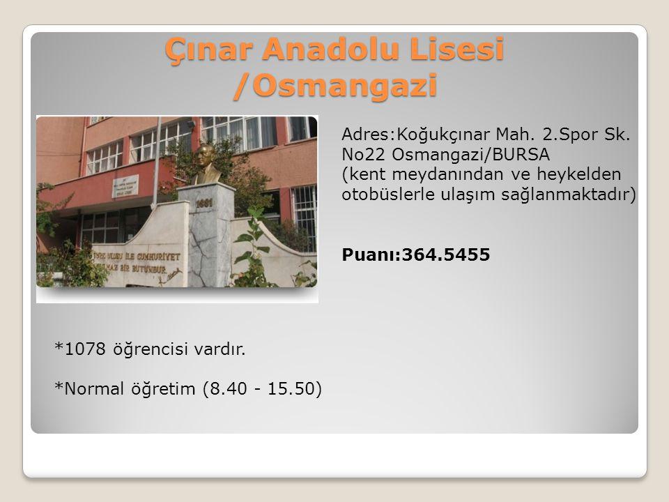 Çınar Anadolu Lisesi /Osmangazi Adres:Koğukçınar Mah. 2.Spor Sk. No22 Osmangazi/BURSA (kent meydanından ve heykelden otobüslerle ulaşım sağlanmaktadır