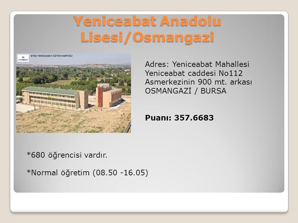 Yeniceabat Anadolu Lisesi/Osmangazi Adres: Yeniceabat Mahallesi Yeniceabat caddesi No112 Asmerkezinin 900 mt. arkası OSMANGAZİ / BURSA Puanı: 357.6683