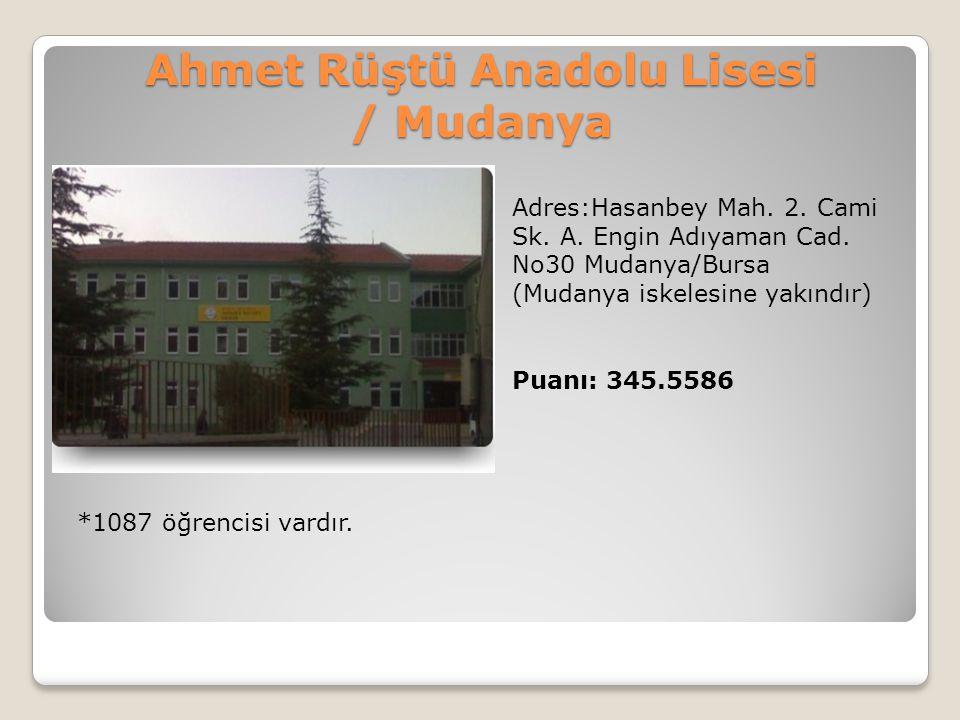 Ahmet Rüştü Anadolu Lisesi / Mudanya Adres:Hasanbey Mah. 2. Cami Sk. A. Engin Adıyaman Cad. No30 Mudanya/Bursa (Mudanya iskelesine yakındır) Puanı: 34
