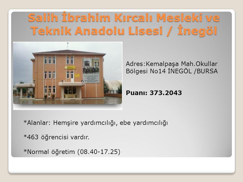 Salih İbrahim Kırcalı Mesleki ve Teknik Anadolu Lisesi / İnegöl Adres:Kemalpaşa Mah.Okullar Bölgesi No14 İNEGÖL /BURSA Puanı: 373.2043 *Alanlar: Hemşi