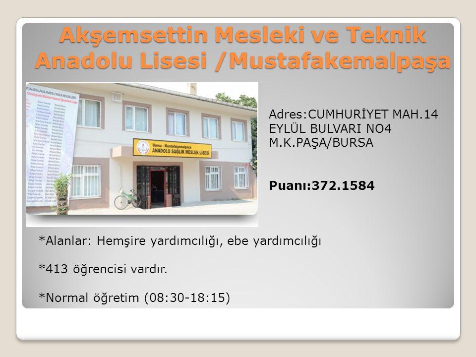 Akşemsettin Mesleki ve Teknik Anadolu Lisesi /Mustafakemalpaşa Adres:CUMHURİYET MAH.14 EYLÜL BULVARI NO4 M.K.PAŞA/BURSA Puanı:372.1584 *Alanlar: Hemşi