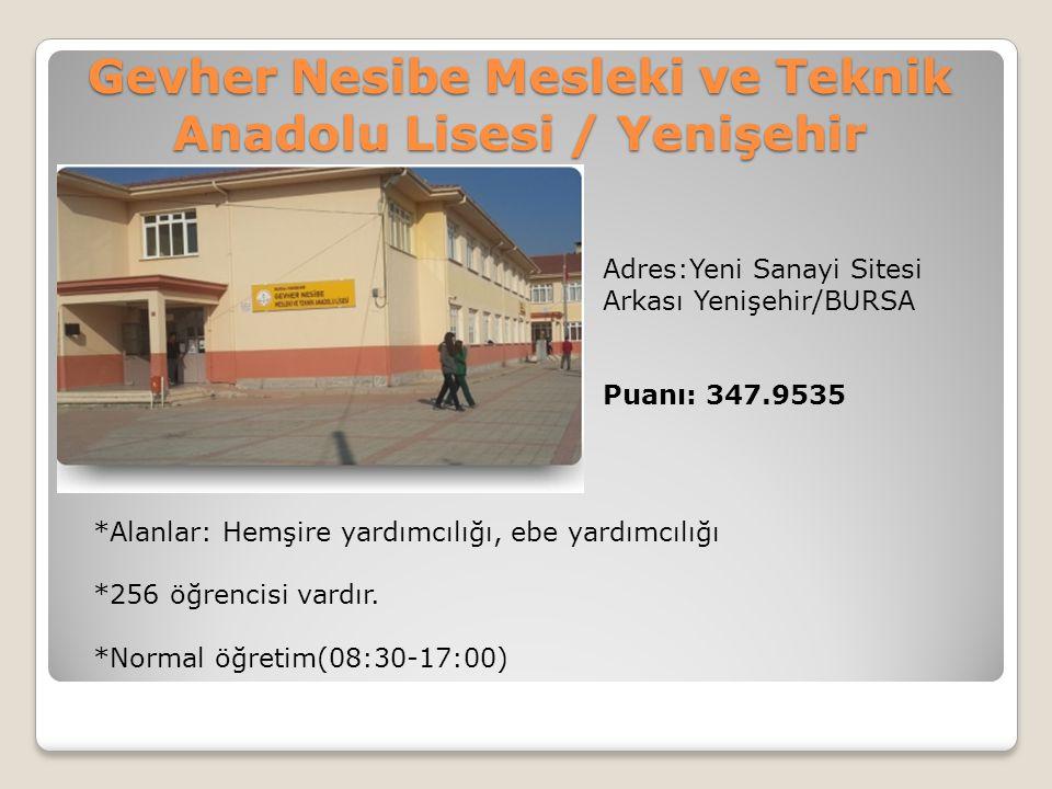 Gevher Nesibe Mesleki ve Teknik Anadolu Lisesi / Yenişehir Adres:Yeni Sanayi Sitesi Arkası Yenişehir/BURSA Puanı: 347.9535 *Alanlar: Hemşire yardımcıl
