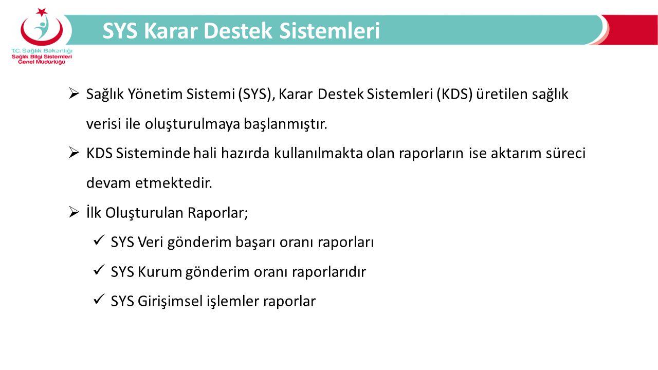 Sağlık Yönetim Sistemi (SYS), Karar Destek Sistemleri (KDS) üretilen sağlık verisi ile oluşturulmaya başlanmıştır.