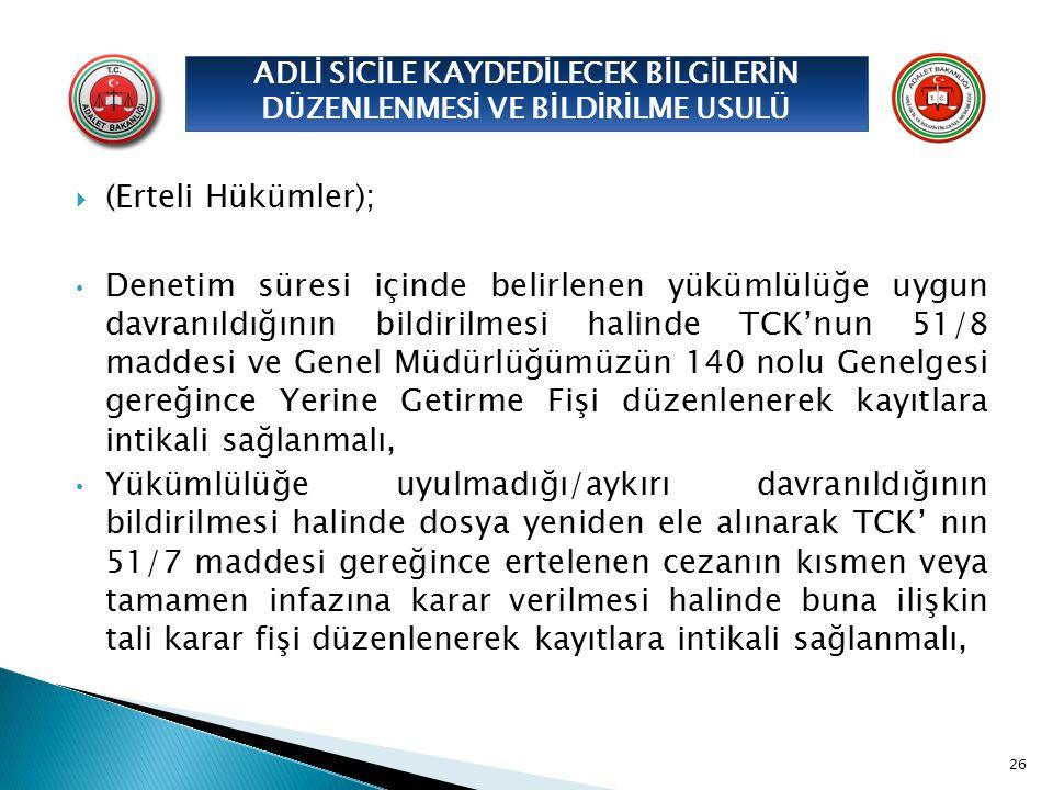  (Erteli Hükümler); Denetim süresi içinde belirlenen yükümlülüğe uygun davranıldığının bildirilmesi halinde TCK'nun 51/8 maddesi ve Genel Müdürlüğümü