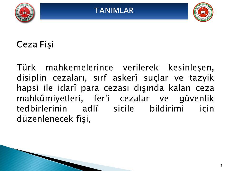 Ceza Fişi Türk mahkemelerince verilerek kesinleşen, disiplin cezaları, sırf askerî suçlar ve tazyik hapsi ile idarî para cezası dışında kalan ceza mah