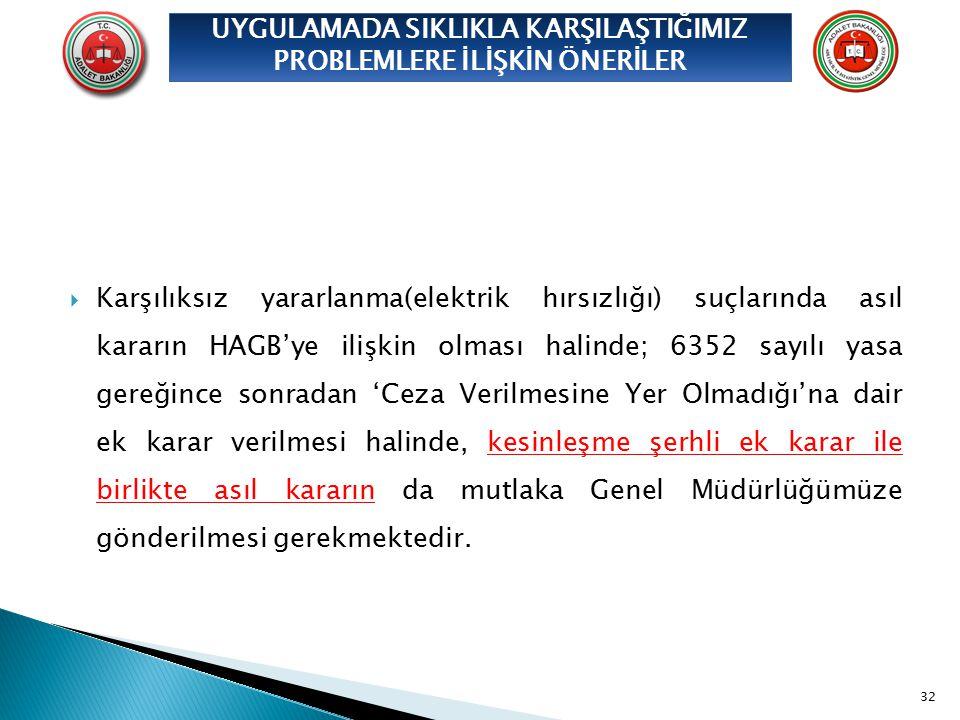  Karşılıksız yararlanma(elektrik hırsızlığı) suçlarında asıl kararın HAGB'ye ilişkin olması halinde; 6352 sayılı yasa gereğince sonradan 'Ceza Verilm