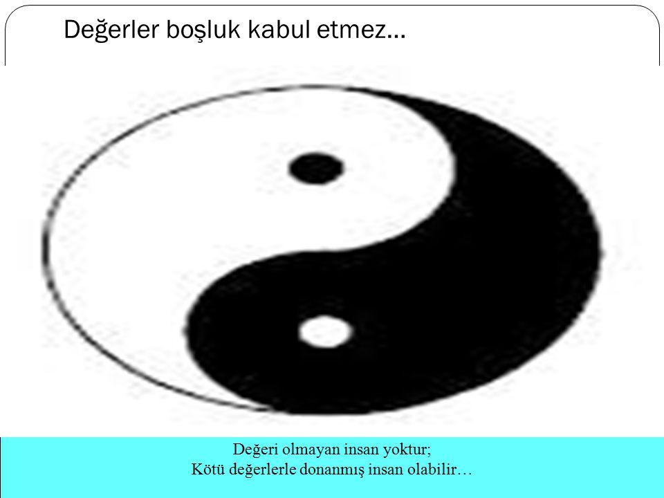 Değerler boşluk kabul etmez… Değeri olmayan insan yoktur; Kötü değerlerle donanmış insan olabilir…