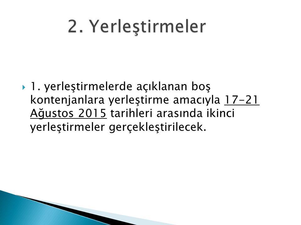 1. yerleştirmelerde açıklanan boş kontenjanlara yerleştirme amacıyla 17-21 Ağustos 2015 tarihleri arasında ikinci yerleştirmeler gerçekleştirilecek.