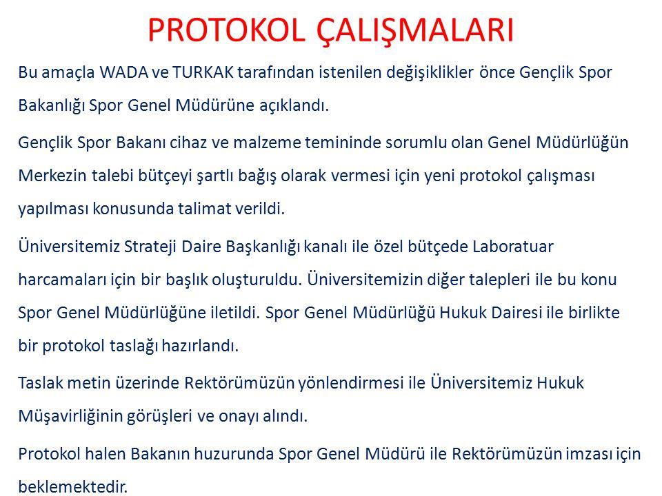 PROTOKOL ÇALIŞMALARI Bu amaçla WADA ve TURKAK tarafından istenilen değişiklikler önce Gençlik Spor Bakanlığı Spor Genel Müdürüne açıklandı.