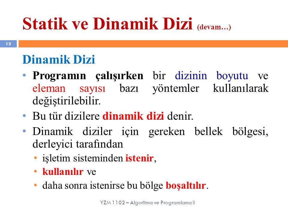 Statik ve Dinamik Dizi (devam…) 13 Dinamik Dizi Programın çalışırken bir dizinin boyutu ve eleman sayısı bazı yöntemler kullanılarak değiştirilebilir.