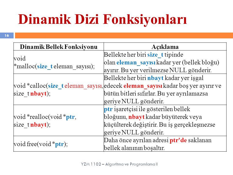 Dinamik Dizi Fonksiyonları 16 YZM 1102 – Algoritma ve Programlama II Dinamik Bellek FonksiyonuAçıklama void *malloc(size_t eleman_sayısı); Bellekte he