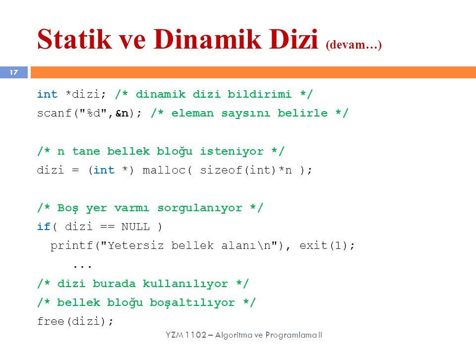 Statik ve Dinamik Dizi (devam…) 17 int *dizi; /* dinamik dizi bildirimi */ scanf(
