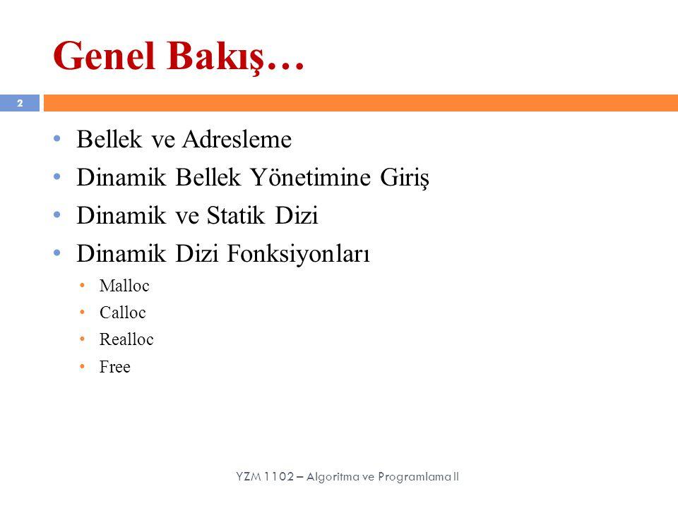 Bellek ve Adresleme Dinamik Bellek Yönetimine Giriş Dinamik ve Statik Dizi Dinamik Dizi Fonksiyonları Malloc Calloc Realloc Free Genel Bakış… 2 YZM 11