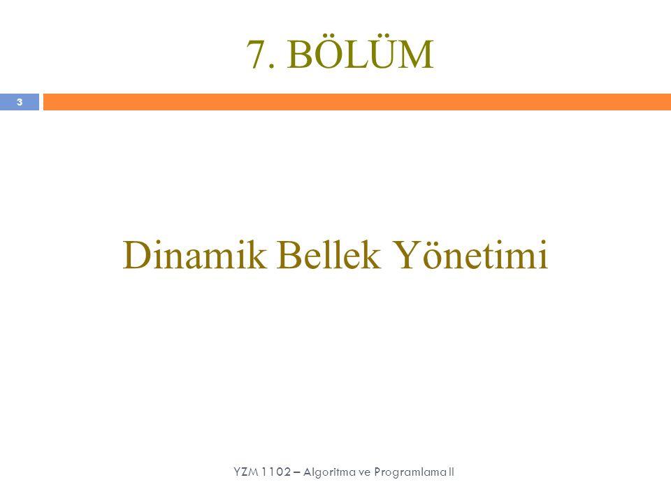7. BÖLÜM Dinamik Bellek Yönetimi 3 YZM 1102 – Algoritma ve Programlama II