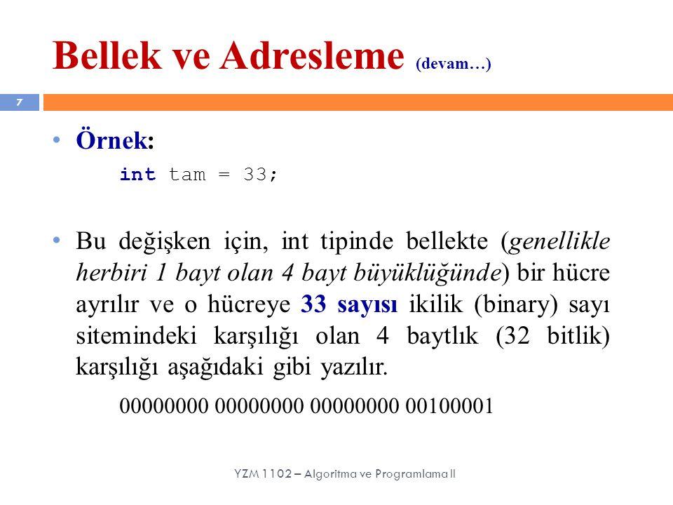 Bellek ve Adresleme (devam…) 8 Örnek: int tam = 33; Bellek adresleri genellikle onaltılık (hexadecimal) sayı sisteminde ifade edilir.