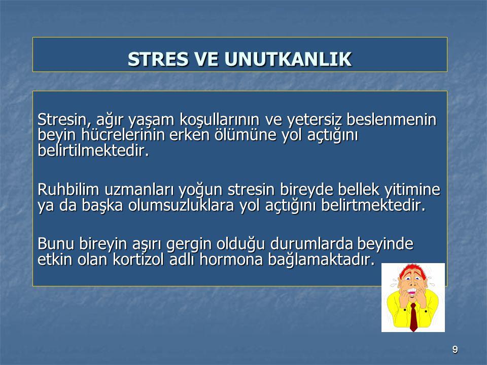 9 Stresin, ağır yaşam koşullarının ve yetersiz beslenmenin beyin hücrelerinin erken ölümüne yol açtığını belirtilmektedir.