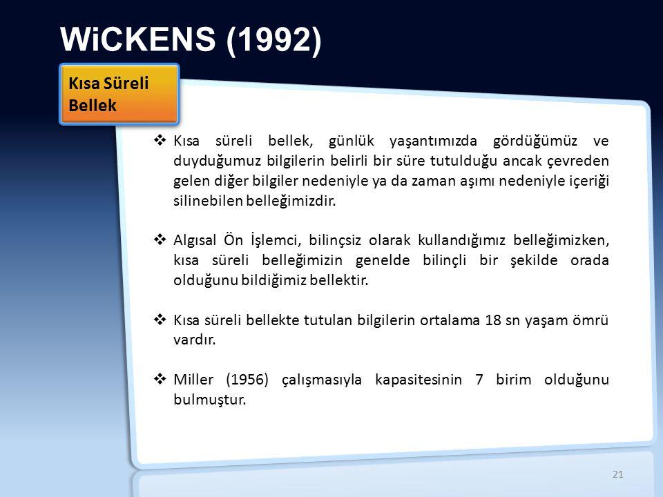 WiCKENS (1992)  Kısa süreli bellek, günlük yaşantımızda gördüğümüz ve duyduğumuz bilgilerin belirli bir süre tutulduğu ancak çevreden gelen diğer bil
