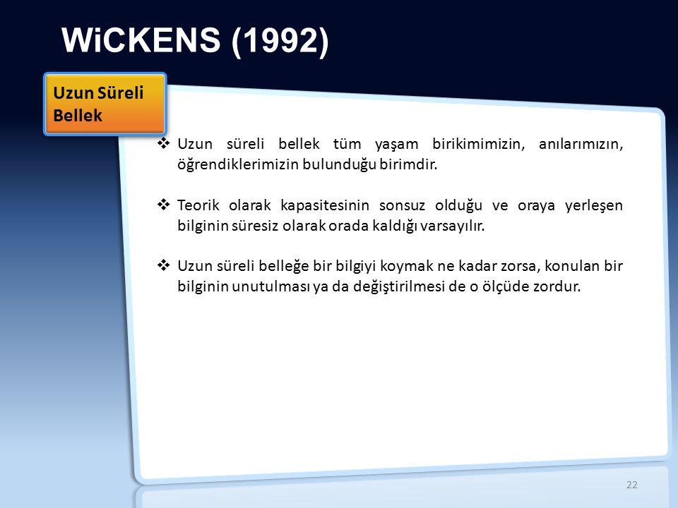 WiCKENS (1992)  Uzun süreli bellek tüm yaşam birikimimizin, anılarımızın, öğrendiklerimizin bulunduğu birimdir.  Teorik olarak kapasitesinin sonsuz