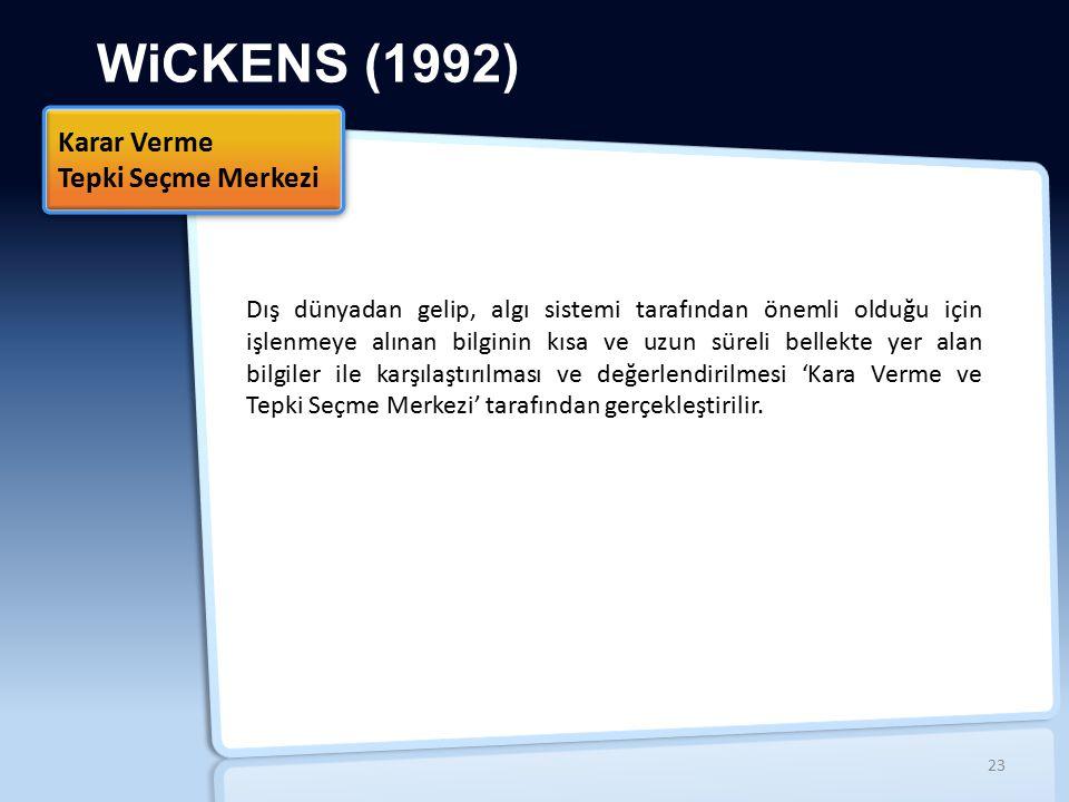 WiCKENS (1992) Dış dünyadan gelip, algı sistemi tarafından önemli olduğu için işlenmeye alınan bilginin kısa ve uzun süreli bellekte yer alan bilgiler ile karşılaştırılması ve değerlendirilmesi 'Kara Verme ve Tepki Seçme Merkezi' tarafından gerçekleştirilir.