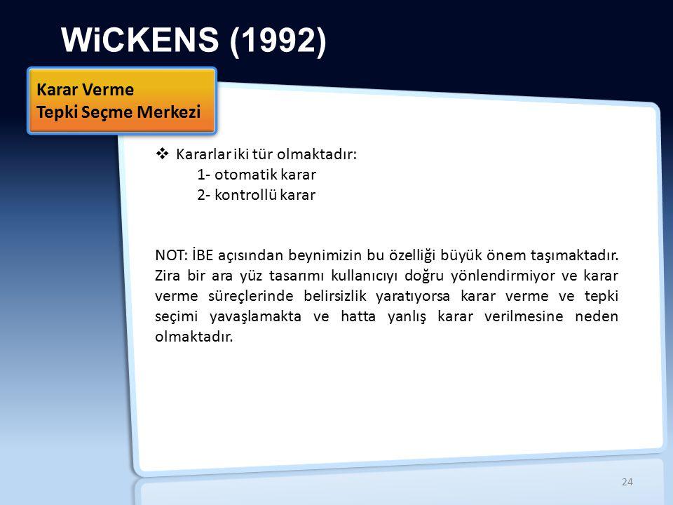 WiCKENS (1992)  Kararlar iki tür olmaktadır: 1- otomatik karar 2- kontrollü karar NOT: İBE açısından beynimizin bu özelliği büyük önem taşımaktadır.