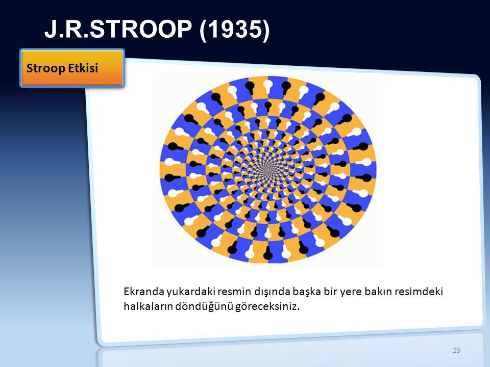 J.R.STROOP (1935) Stroop Etkisi 29 Ekranda yukardaki resmin dışında başka bir yere bakın resimdeki halkaların döndüğünü göreceksiniz.