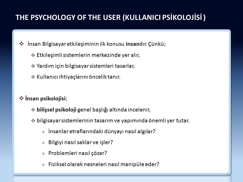 THE PSYCHOLOGY OF THE USER (KULLANICI PSİKOLOJİSİ )  İnsan Bilgisayar etkileşiminin ilk konusu insandır.