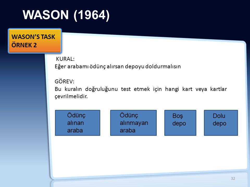 WASON (1964) WASON'S TASK ÖRNEK 2 WASON'S TASK ÖRNEK 2 KURAL: Eğer arabamı ödünç alırsan depoyu doldurmalısın GÖREV: Bu kuralın doğruluğunu test etmek için hangi kart veya kartlar çevrilmelidir.