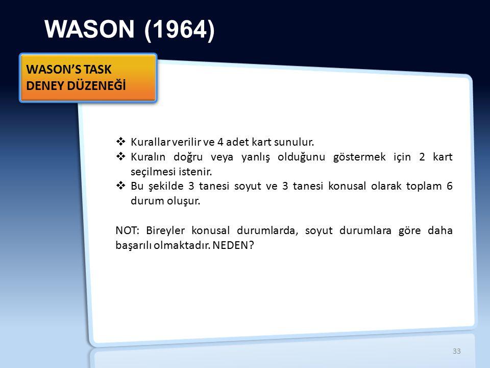 WASON (1964)  Kurallar verilir ve 4 adet kart sunulur.  Kuralın doğru veya yanlış olduğunu göstermek için 2 kart seçilmesi istenir.  Bu şekilde 3 t