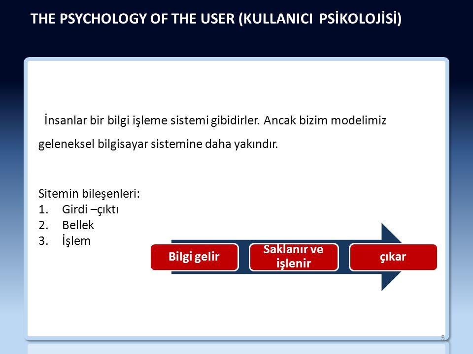 THE PSYCHOLOGY OF THE USER (KULLANICI PSİKOLOJİSİ) İnsanlar bir bilgi işleme sistemi gibidirler.