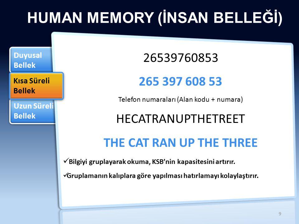 Uzun Süreli Bellek Uzun Süreli Bellek Duyusal Bellek Duyusal Bellek HUMAN MEMORY (İNSAN BELLEĞİ) Kısa Süreli Bellek Kısa Süreli Bellek 26539760853 Telefon numaraları (Alan kodu + numara) HECATRANUPTHETREET THE CAT RAN UP THE THREE Bilgiyi gruplayarak okuma, KSB'nin kapasitesini artırır.