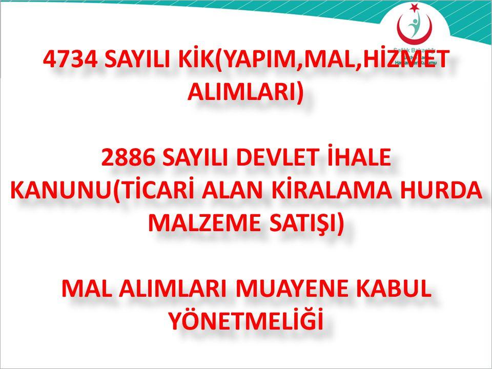 4734 SAYILI KİK(YAPIM,MAL,HİZMET ALIMLARI) 2886 SAYILI DEVLET İHALE KANUNU(TİCARİ ALAN KİRALAMA HURDA MALZEME SATIŞI) MAL ALIMLARI MUAYENE KABUL YÖNET