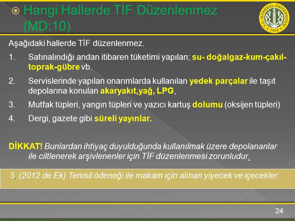 Aşağıdaki hallerde TİF düzenlenmez.