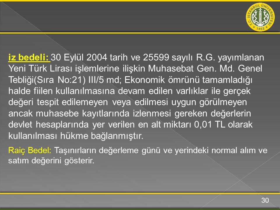 iz bedeli: 30 Eylül 2004 tarih ve 25599 sayılı R.G. yayımlanan Yeni Türk Lirası işlemlerine ilişkin Muhasebat Gen. Md. Genel Tebliği(Sıra No:21) III/5
