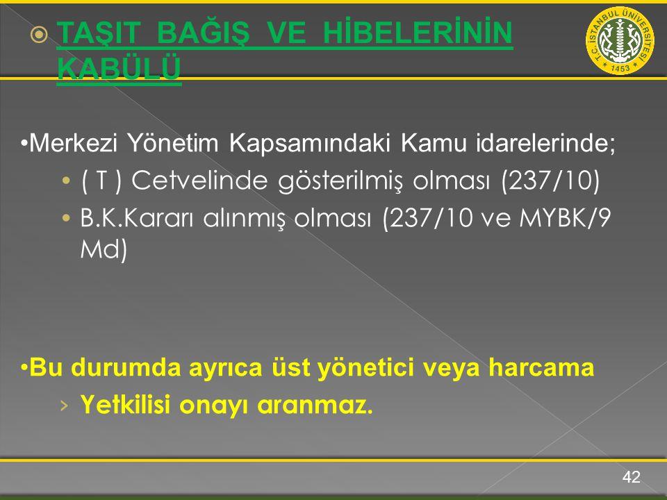 Merkezi Yönetim Kapsamındaki Kamu idarelerinde; ( T ) Cetvelinde gösterilmiş olması (237/10) B.K.Kararı alınmış olması (237/10 ve MYBK/9 Md) Bu durumd