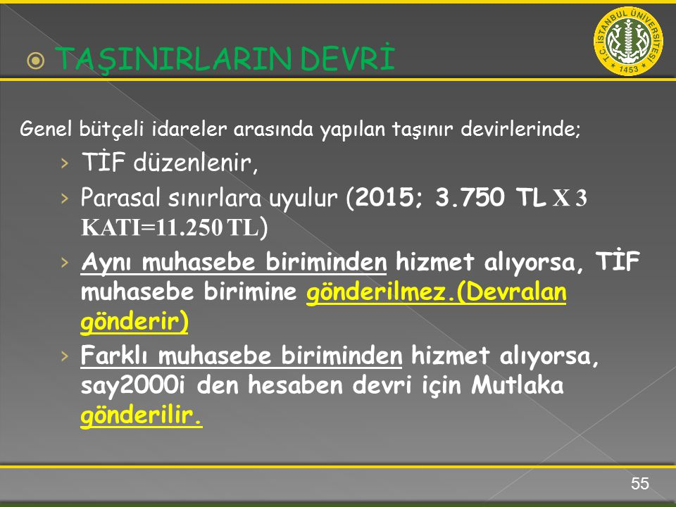 Genel bütçeli idareler arasında yapılan taşınır devirlerinde; › TİF düzenlenir, › Parasal sınırlara uyulur (2015; 3.750 TL X 3 KATI=11.250 TL ) › Aynı