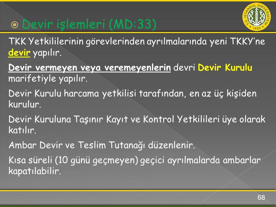 TKK Yetkililerinin görevlerinden ayrılmalarında yeni TKKY'ne devir yapılır. Devir vermeyen veya veremeyenlerin devri Devir Kurulu marifetiyle yapılır.