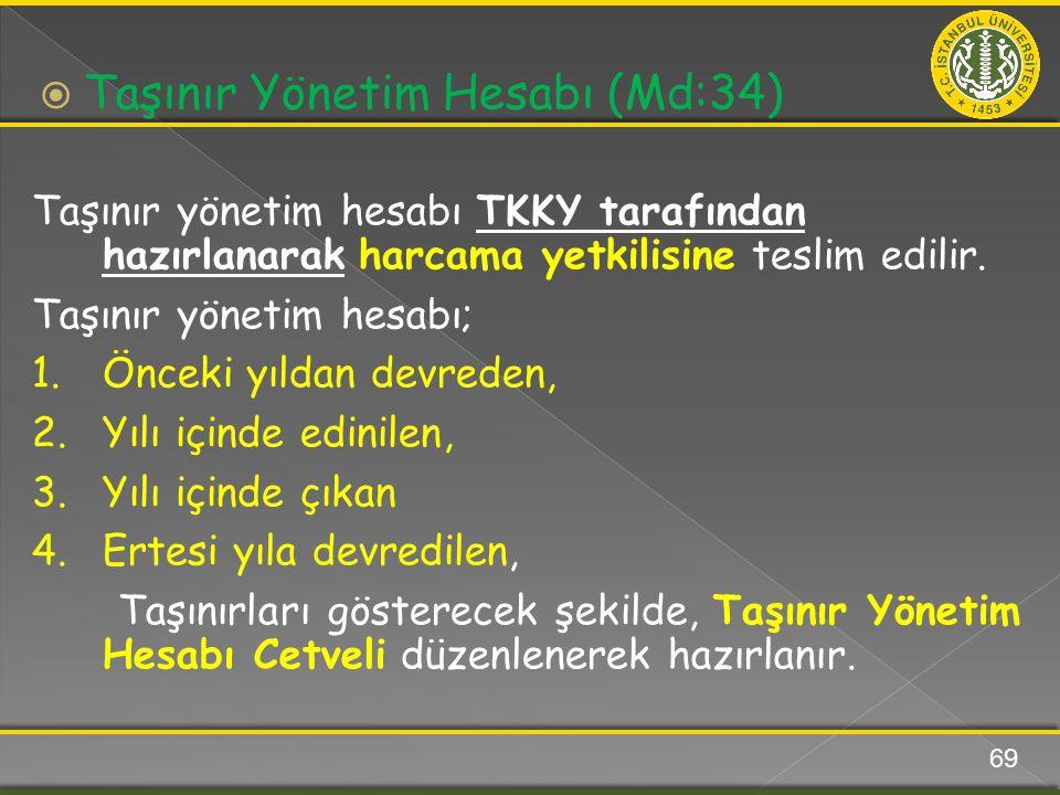 Taşınır yönetim hesabı TKKY tarafından hazırlanarak harcama yetkilisine teslim edilir. Taşınır yönetim hesabı; 1.Önceki yıldan devreden, 2.Yılı içinde