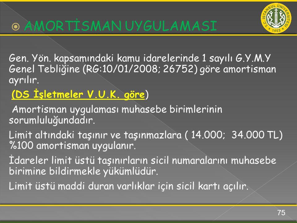 Gen. Yön. kapsamındaki kamu idarelerinde 1 sayılı G.Y.M.Y Genel Tebliğine (RG:10/01/2008; 26752) göre amortisman ayrılır. (DS İşletmeler V.U.K. göre)