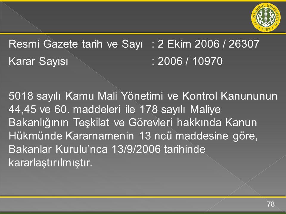 Resmi Gazete tarih ve Sayı: 2 Ekim 2006 / 26307 Karar Sayısı: 2006 / 10970 5018 sayılı Kamu Mali Yönetimi ve Kontrol Kanununun 44,45 ve 60. maddeleri