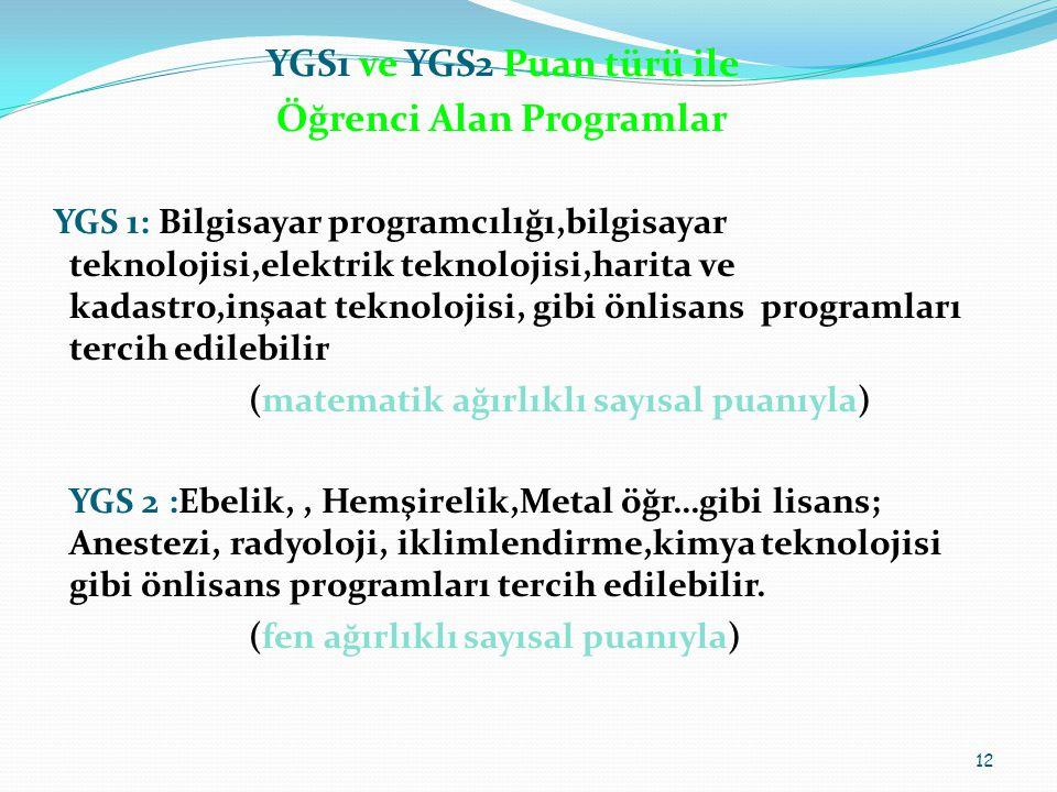 YGS1 ve YGS2 Puan türü ile Öğrenci Alan Programlar YGS 1: Bilgisayar programcılığı,bilgisayar teknolojisi,elektrik teknolojisi,harita ve kadastro,inşaat teknolojisi, gibi önlisans programları tercih edilebilir (matematik ağırlıklı sayısal puanıyla) YGS 2 :Ebelik,, Hemşirelik,Metal öğr…gibi lisans; Anestezi, radyoloji, iklimlendirme,kimya teknolojisi gibi önlisans programları tercih edilebilir.