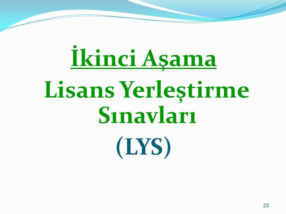 İkinci Aşama Lisans Yerleştirme Sınavları (LYS) 20