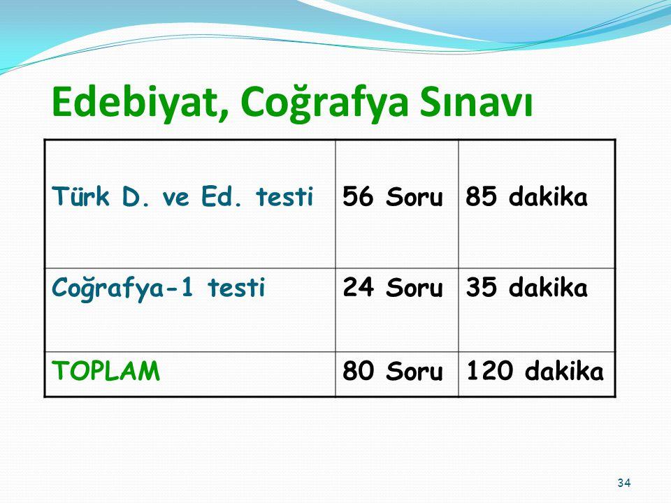 Edebiyat, Coğrafya Sınavı Türk D.ve Ed.
